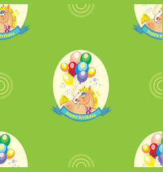 Seamless pattern with pony and balloons on green vector