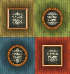 Set of old wallpaper with vintage frame vector image