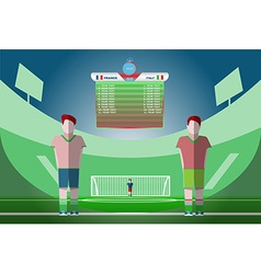 Soccer match scoreboard on a playfield vector