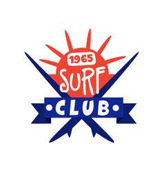 surfing club logo since 1965 surf retro badge vector image