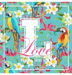 Vintage tropical leaves flowers and parrot bird vector