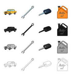 Yellow car wrench ignition key canister of vector