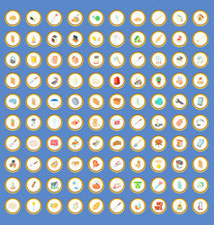 100 house icons set cartoon vector image