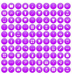 100 pharmacy icons set purple vector