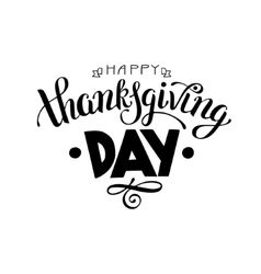 Happy thanksgiving day black and white handwritten vector