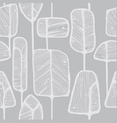 seamless pattern design with abstract doodle trees vector image