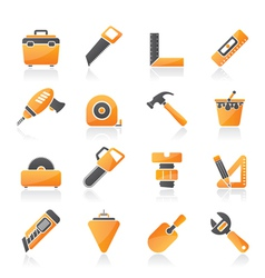 Construction objects and tools icons vector