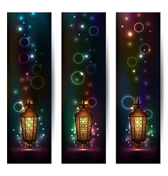 Set light banners with arabic lantern vector
