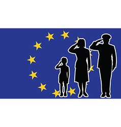 European union soldier family salute vector