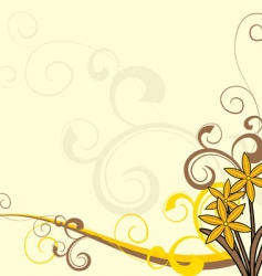 Yellow flowers ornate background vector