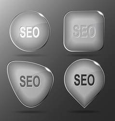 Seo glass buttons vector