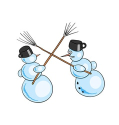 Two snowman fighted by besoms vector