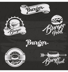 Burgers logo set in vintage style retro hand vector