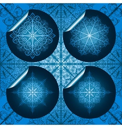 Highly detailed blue snowflake stickers on seamles vector