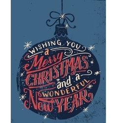 Wishing you a merry christmas hand lettering vector