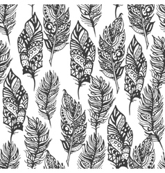 Hand drawn zentangle doodle black feathers vector