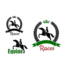 Equestrian sport symbols with horses and riders vector