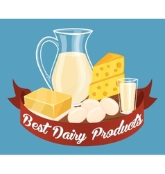 Dairy products isolated vector