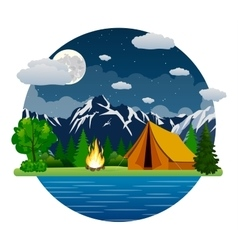 Summer landscape tent and bonfire vector