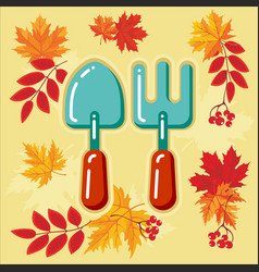 autumn agricultural icons with autumn leaves 7 vector image vector image
