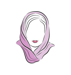 beautiful young woman in a lilac scarf on her head vector image