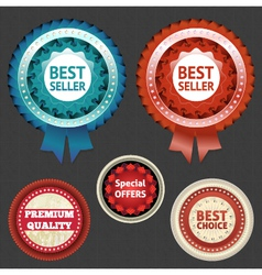 Best seller and choice labels with ribbon vector image