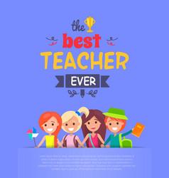 Best teacher ever light-purple vector