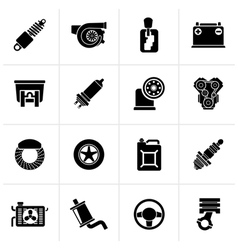 Black car part and services icons vector
