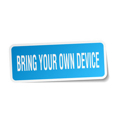 Bring your own device square sticker on white vector