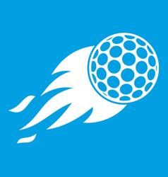 burning golf ball icon white vector image