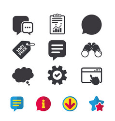 Chat icons comic speech bubble signs think vector