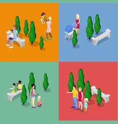 Children walking with parents family isometric vector