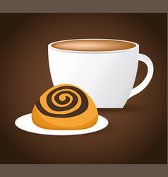 Coffee cup bread biscuit dessert vector