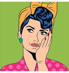 cute retro woman in comics style vector image vector image