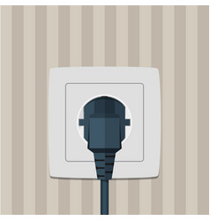 Electric plug and socket on a wall vector