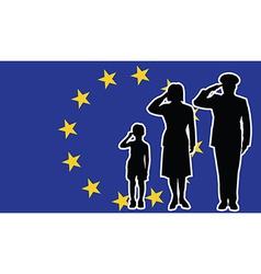 European union soldier family salute vector