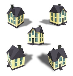 Family house in 5 perspective views vector