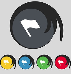 Finish start flag icon sign symbol on five colored vector