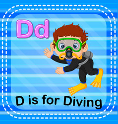 Flashcard letter d is for diving vector
