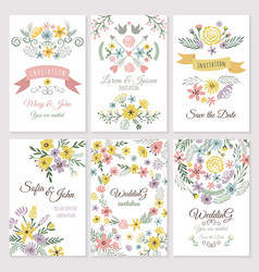 floral design of wedding invitation cards vector image