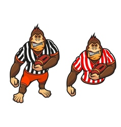 Gorilla player with rugby ball vector image vector image