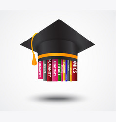 Graduation cap with books concept vector