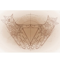 Graphic hands in the shape of triangle vector image