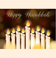 happy hanukkah poster design with candles vector image vector image