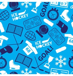 Ice hockey sport icons blue seamless pattern eps10 vector