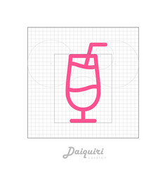 Icon of cocktail with modular grid daiquiri vector
