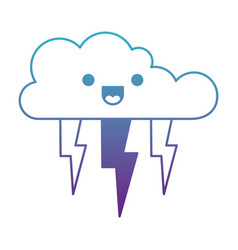 Kawaii cloud with lightnings in degraded blue to vector