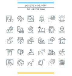 logistic and delivery icon set vector image vector image