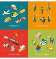 Logistics Concept 4 Isometric Icons Set vector image vector image