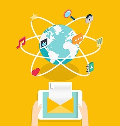 Marceting concept of running email campaign email vector image